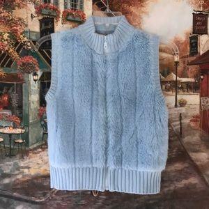 Baby Blue Faux Fur Vest